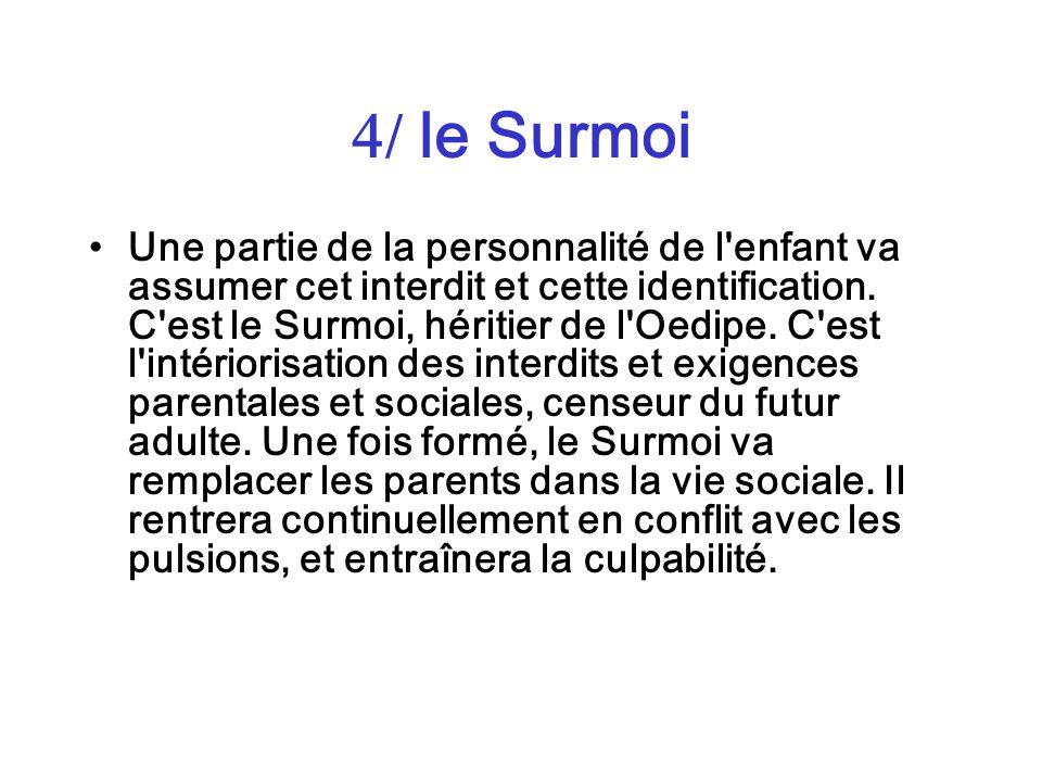 / le Surmoi Une partie de la personnalité de l'enfant va assumer cet interdit et cette identification. C'est le Surmoi, héritier de l'Oedipe. C'est l'