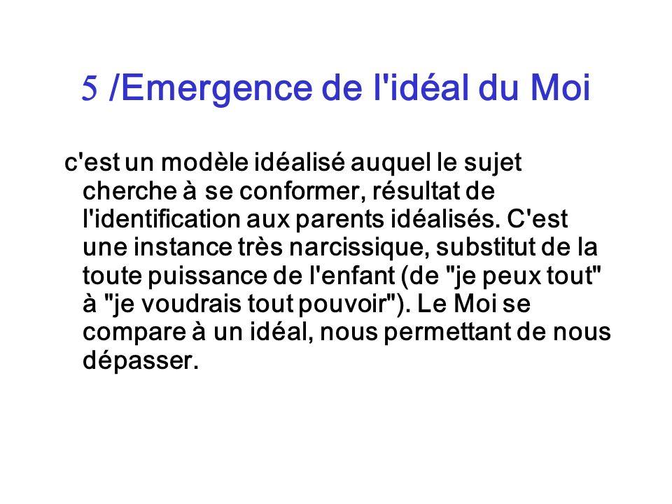 /Emergence de l'idéal du Moi c'est un modèle idéalisé auquel le sujet cherche à se conformer, résultat de l'identification aux parents idéalisés. C'es