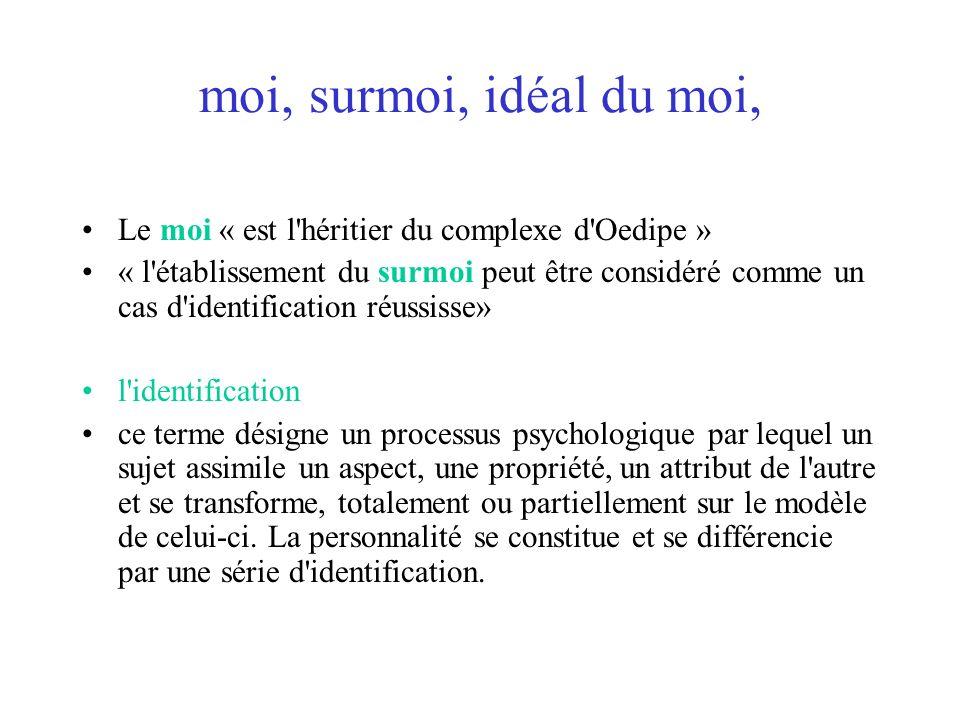 moi, surmoi, idéal du moi, Le moi « est l'héritier du complexe d'Oedipe » « l'établissement du surmoi peut être considéré comme un cas d'identificatio