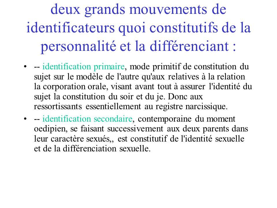 deux grands mouvements de identificateurs quoi constitutifs de la personnalité et la différenciant : -- identification primaire, mode primitif de cons
