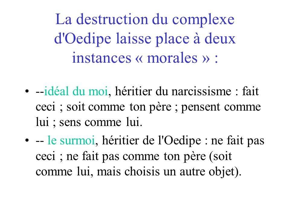 La destruction du complexe d'Oedipe laisse place à deux instances « morales » : --idéal du moi, héritier du narcissisme : fait ceci ; soit comme ton p