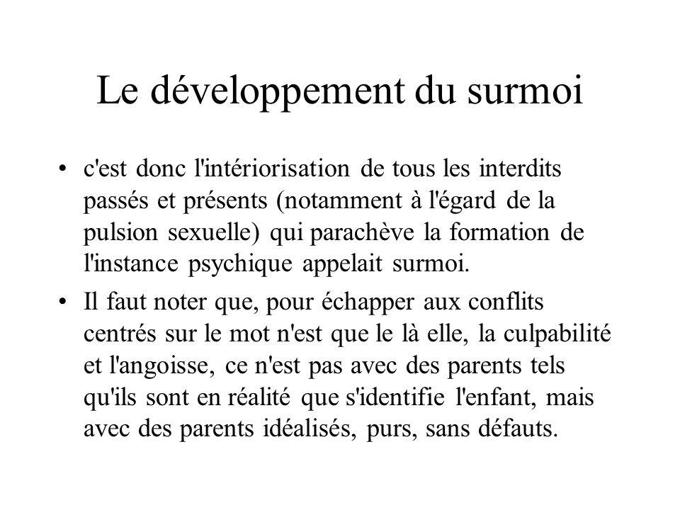 Le développement du surmoi c'est donc l'intériorisation de tous les interdits passés et présents (notamment à l'égard de la pulsion sexuelle) qui para