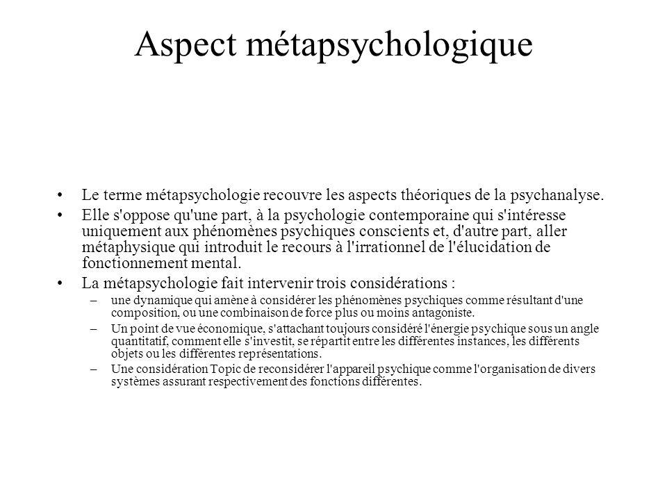 Aspect métapsychologique Le terme métapsychologie recouvre les aspects théoriques de la psychanalyse. Elle s'oppose qu'une part, à la psychologie cont