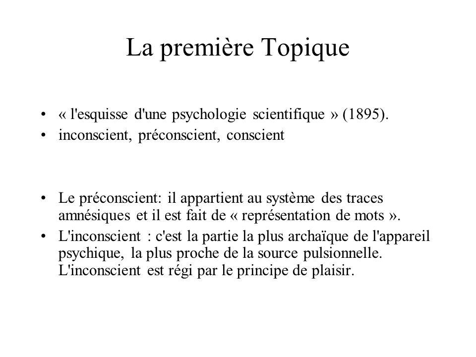 La première Topique « l'esquisse d'une psychologie scientifique » (1895). inconscient, préconscient, conscient Le préconscient: il appartient au systè