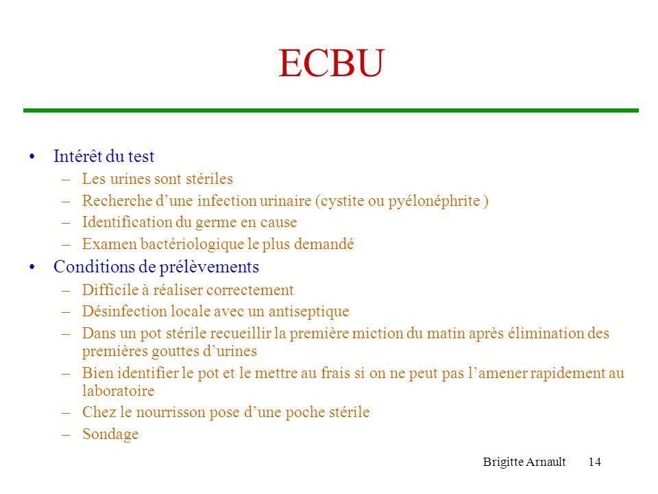 Brigitte Arnault14 ECBU Intérêt du test –Les urines sont stériles –Recherche dune infection urinaire (cystite ou pyélonéphrite ) –Identification du ge