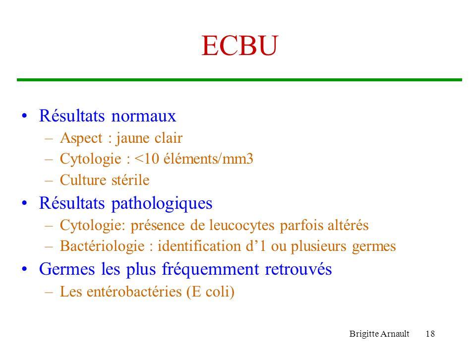 Brigitte Arnault18 ECBU Résultats normaux –Aspect : jaune clair –Cytologie : <10 éléments/mm3 –Culture stérile Résultats pathologiques –Cytologie: pré