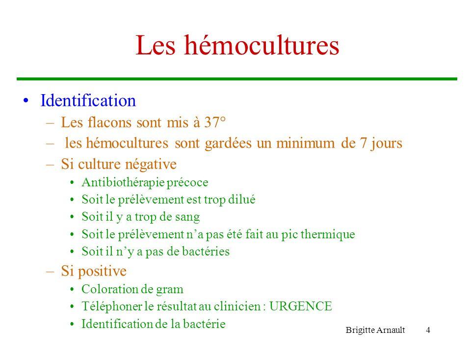 Brigitte Arnault4 Les hémocultures Identification –Les flacons sont mis à 37° – les hémocultures sont gardées un minimum de 7 jours –Si culture négati