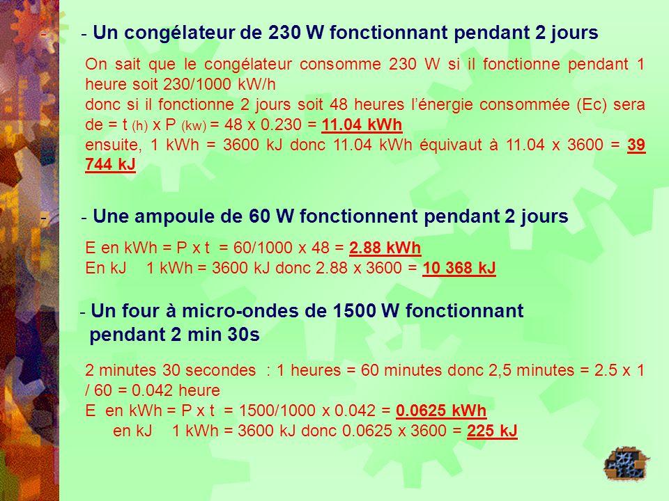 - - Un congélateur de 230 W fonctionnant pendant 2 jours On sait que le congélateur consomme 230 W si il fonctionne pendant 1 heure soit 230/1000 kW/h