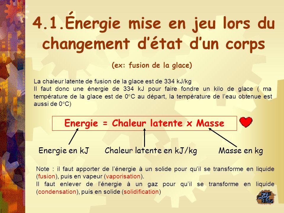 4.1.Énergie mise en jeu lors du changement détat dun corps La chaleur latente de fusion de la glace est de 334 kJ/kg Il faut donc une énergie de 334 k