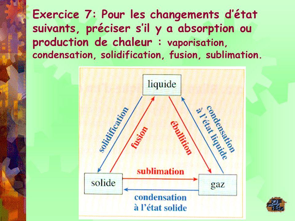Exercice 7: Pour les changements détat suivants, préciser sil y a absorption ou production de chaleur : vaporisation, condensation, solidification, fu