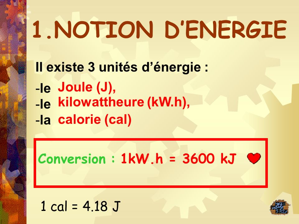 1.NOTION DENERGIE Il existe 3 unités dénergie : -le -la Conversion : Joule (J), kilowattheure (kW.h), calorie (cal) 1kW.h = 3600 kJ 1 cal = 4.18 J