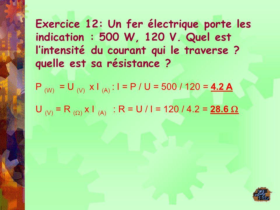 Exercice 12: Un fer électrique porte les indication : 500 W, 120 V. Quel est lintensité du courant qui le traverse ? quelle est sa résistance ? P (W)
