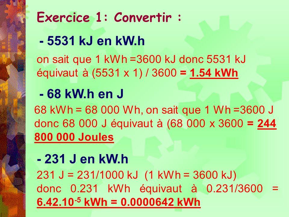 Exercice 1: Convertir : - 5531 kJ en kW.h - 68 kW.h en J - 231 J en kW.h on sait que 1 kWh =3600 kJ donc 5531 kJ équivaut à (5531 x 1) / 3600 = 1.54 k