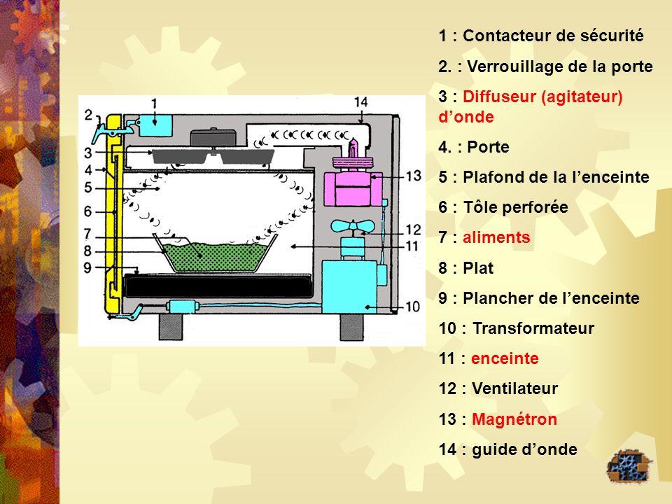 1 : Contacteur de sécurité 2. : Verrouillage de la porte 3 : Diffuseur (agitateur) donde 4. : Porte 5 : Plafond de la lenceinte 6 : Tôle perforée 7 :