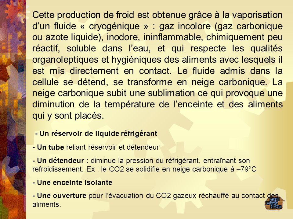 Cette production de froid est obtenue grâce à la vaporisation dun fluide « cryogénique » : gaz incolore (gaz carbonique ou azote liquide), inodore, in