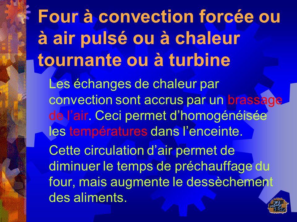 Four à convection forcée ou à air pulsé ou à chaleur tournante ou à turbine Les échanges de chaleur par convection sont accrus par un brassage de lair