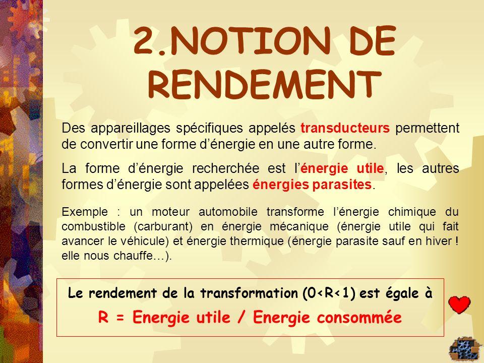 Le rendement de la transformation (0<R<1) est égale à R = Energie utile / Energie consommée Des appareillages spécifiques appelés transducteurs permet