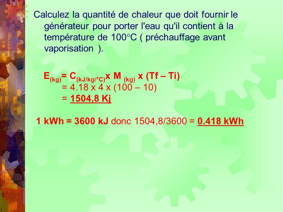 Calculez la quantité de chaleur que doit fournir le générateur pour porter l'eau qu'il contient à la température de 100°C ( préchauffage avant vaporis