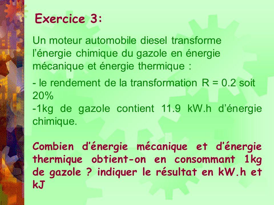 -R (0.2 soit 20%) = Eu (énergie mécanique) / Ec (11.9 kW.h) -Eu = R x Ec = 0.2x11.9 = 2.38 k.Wh donc lénergie mécanique est de 2.38 k.Wh soit 2.38 x 3600 = 8568 kJ -Énergie parasites = E thermique représente 80% soit 11.9 – 2.38 = 9.52 k.Wh soit 34272 kJ