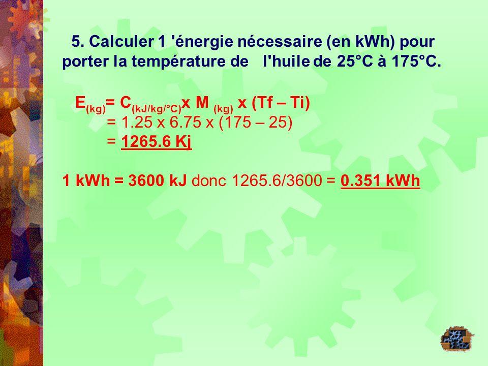5. Calculer 1 'énergie nécessaire (en kWh) pour porter la température de l'huile de 25°C à 175°C. E (kg) = C (kJ/kg/°C) x M (kg) x (Tf – Ti) = 1.25 x