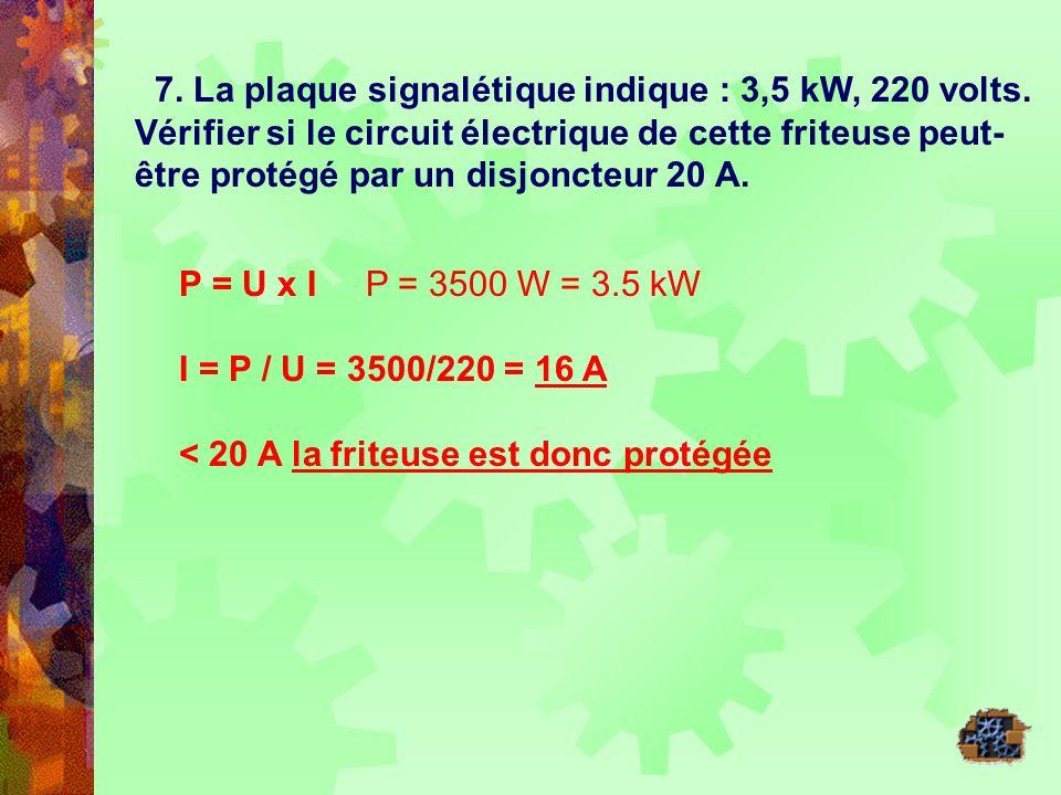 7. La plaque signalétique indique : 3,5 kW, 220 volts. Vérifier si le circuit électrique de cette friteuse peut- être protégé par un disjoncteur 20 A.