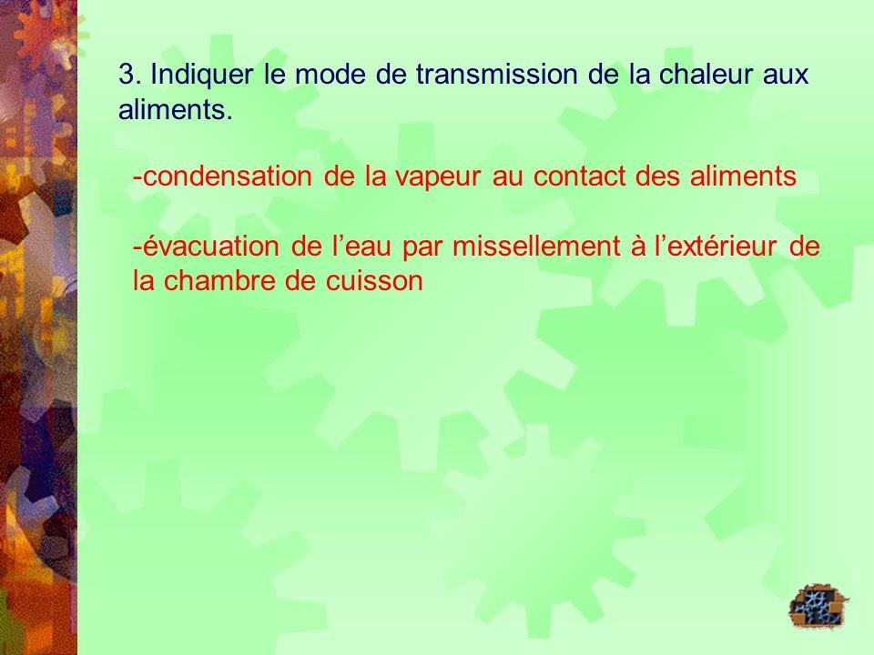 3. Indiquer le mode de transmission de la chaleur aux aliments. -condensation de la vapeur au contact des aliments -évacuation de leau par missellemen