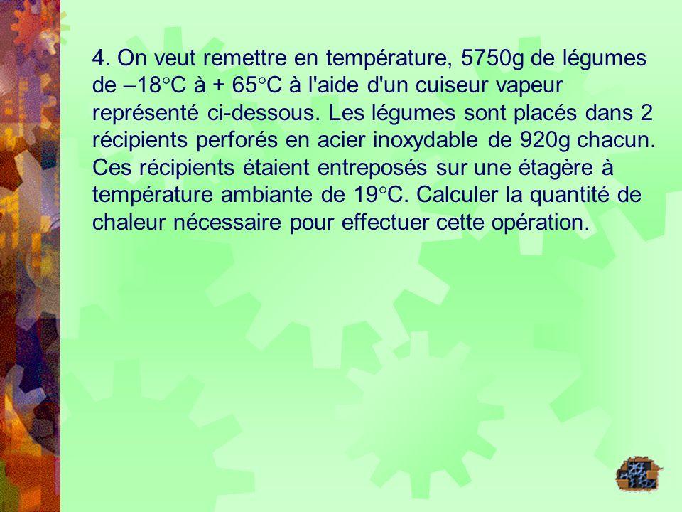4. On veut remettre en température, 5750g de légumes de –18°C à + 65°C à l'aide d'un cuiseur vapeur représenté ci-dessous. Les légumes sont placés dan