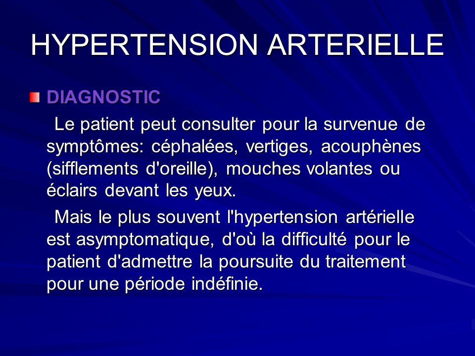 HYPERTENSION ARTERIELLE DIAGNOSTIC Le patient peut consulter pour la survenue de symptômes: céphalées, vertiges, acouphènes (sifflements d'oreille), m