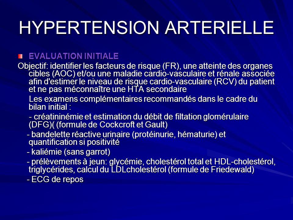 HYPERTENSION ARTERIELLE EVALUATION INITIALE Objectif: identifier les facteurs de risque (FR), une atteinte des organes cibles (AOC) et/ou une maladie