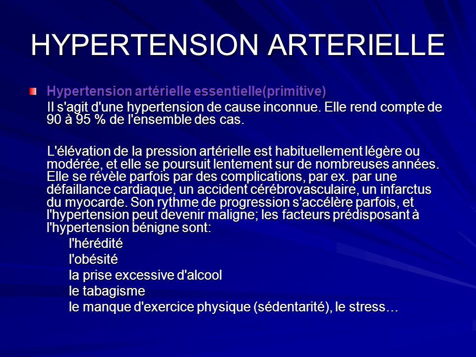 HYPERTENSION ARTERIELLE Hypertension artérielle essentielle(primitive) Il s'agit d'une hypertension de cause inconnue. Elle rend compte de 90 à 95 % d