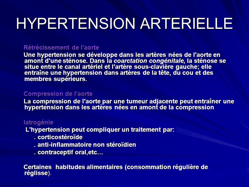 HYPERTENSION ARTERIELLE Rétrécissement de l'aorte Rétrécissement de l'aorte Une hypertension se développe dans les artères nées de l'aorte en amont d'