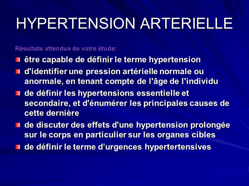 Résultats attendus de votre étude: être capable de définir le terme hypertension d'identifier une pression artérielle normale ou anormale, en tenant c