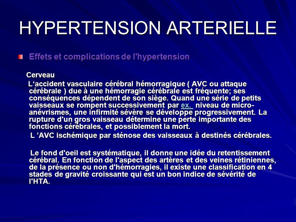 HYPERTENSION ARTERIELLE Effets et complications de l'hypertension Cerveau Cerveau Laccident vasculaire cérébral hémorragique ( AVC ou attaque cérébral