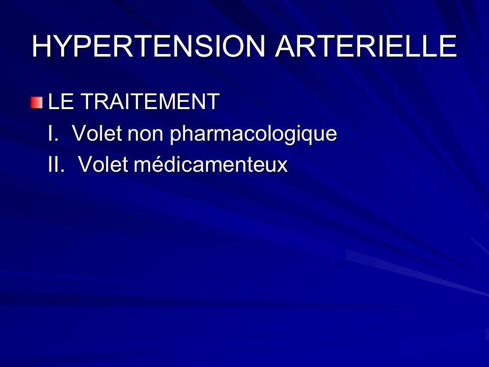 HYPERTENSION ARTERIELLE LE TRAITEMENT I. Volet non pharmacologique I. Volet non pharmacologique II. Volet médicamenteux II. Volet médicamenteux