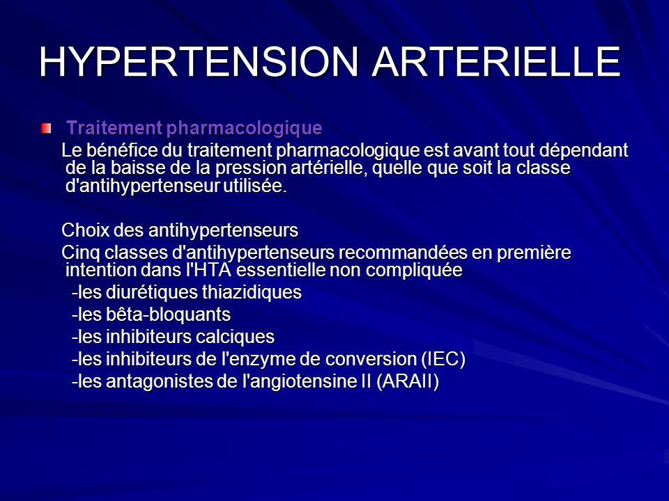 HYPERTENSION ARTERIELLE Traitement pharmacologique Le bénéfice du traitement pharmacologique est avant tout dépendant de la baisse de la pression arté