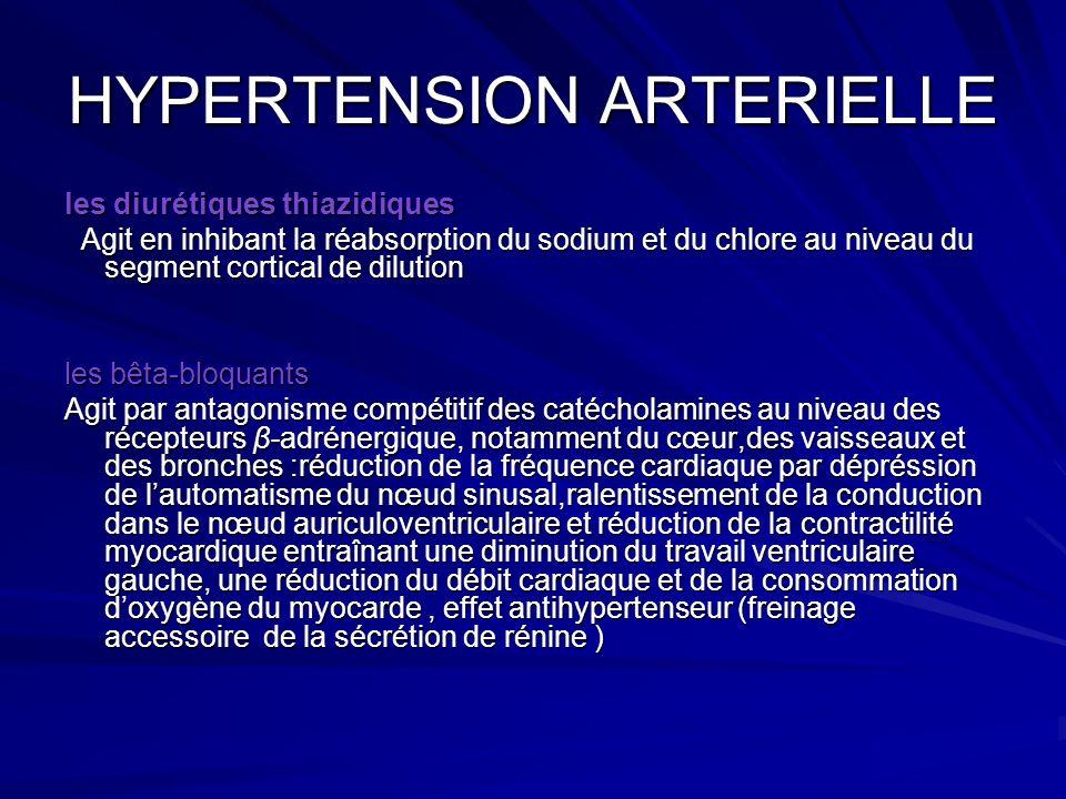 HYPERTENSION ARTERIELLE les diurétiques thiazidiques Agit en inhibant la réabsorption du sodium et du chlore au niveau du segment cortical de dilution