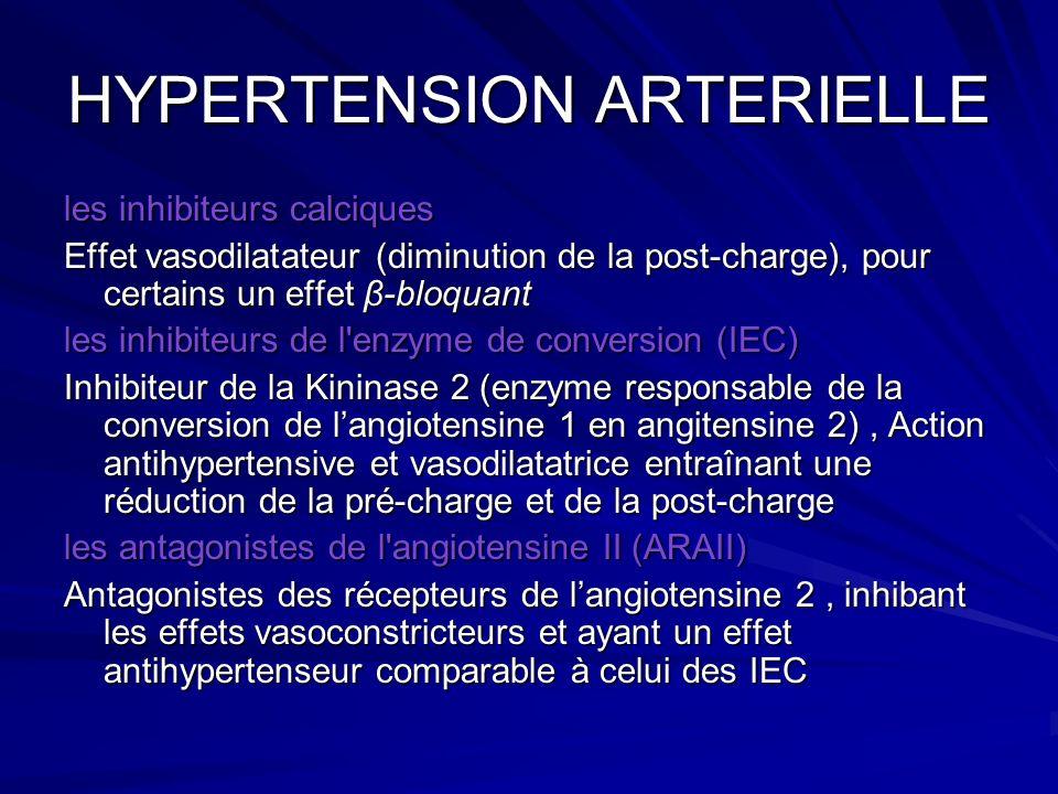 HYPERTENSION ARTERIELLE les inhibiteurs calciques Effet vasodilatateur (diminution de la post-charge), pour certains un effet β-bloquant les inhibiteu