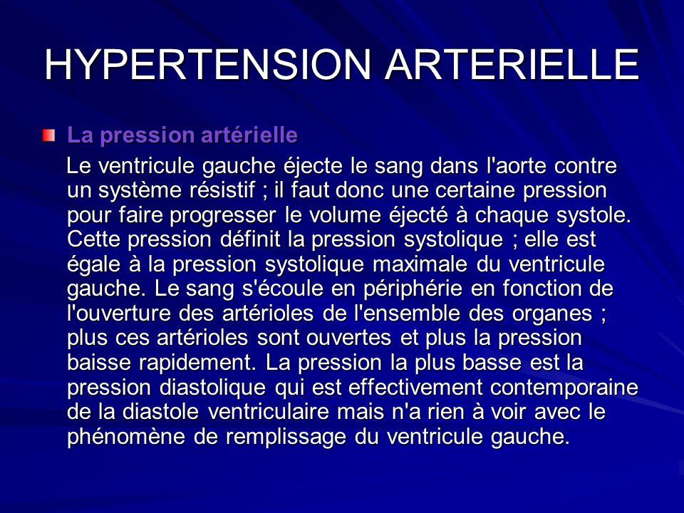 HYPERTENSION ARTERIELLE La pression artérielle Le ventricule gauche éjecte le sang dans l'aorte contre un système résistif ; il faut donc une certaine