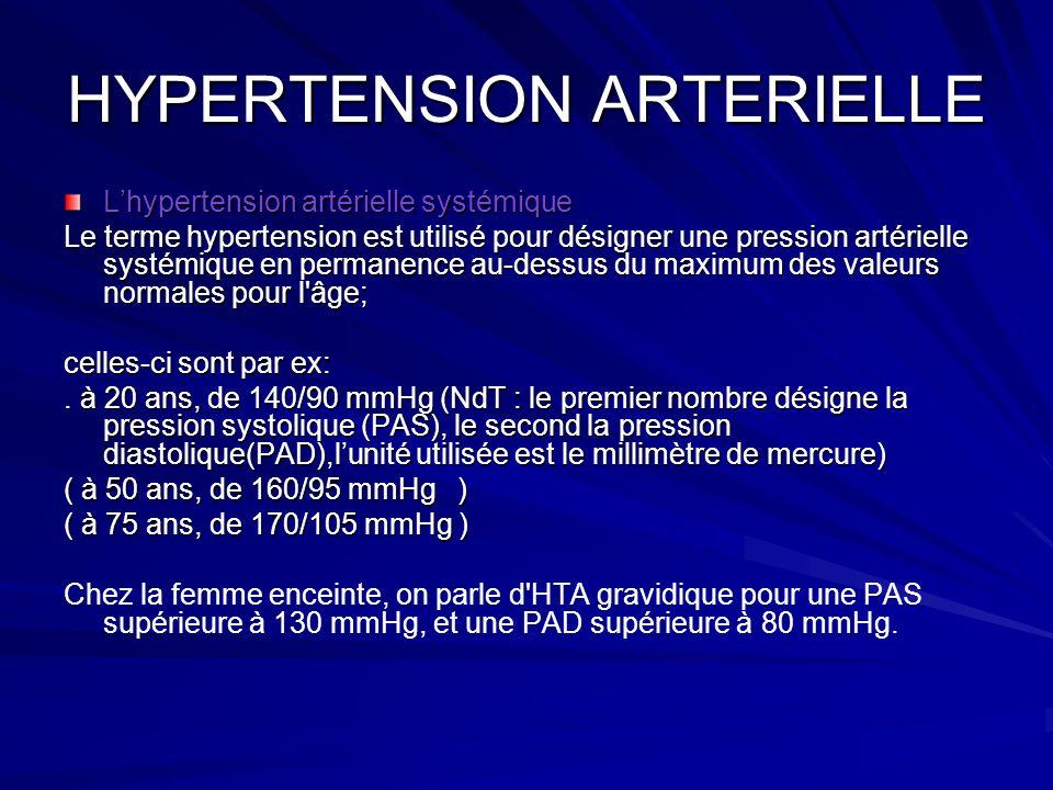 HYPERTENSION ARTERIELLE Lhypertension artérielle systémique Le terme hypertension est utilisé pour désigner une pression artérielle systémique en perm