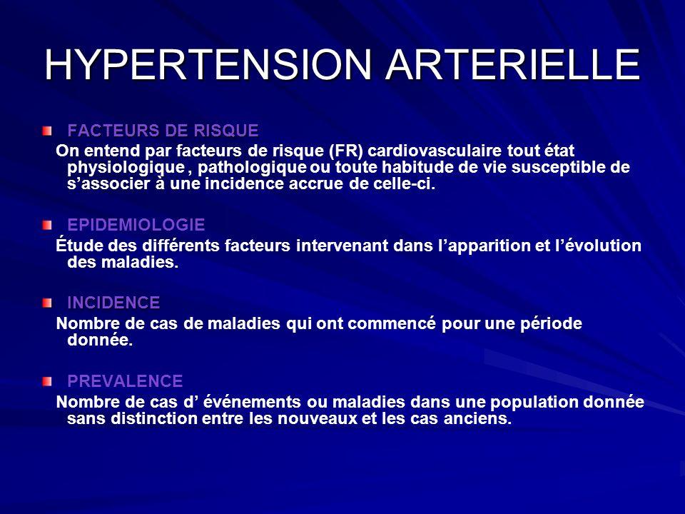 HYPERTENSION ARTERIELLE FACTEURS DE RISQUE On entend par facteurs de risque (FR) cardiovasculaire tout état physiologique, pathologique ou toute habit