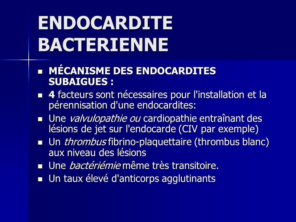 ENDOCARDITE BACTERIENNE MÉCANISME DES ENDOCARDITES SUBAIGUES : MÉCANISME DES ENDOCARDITES SUBAIGUES : 4 facteurs sont nécessaires pour l'installation