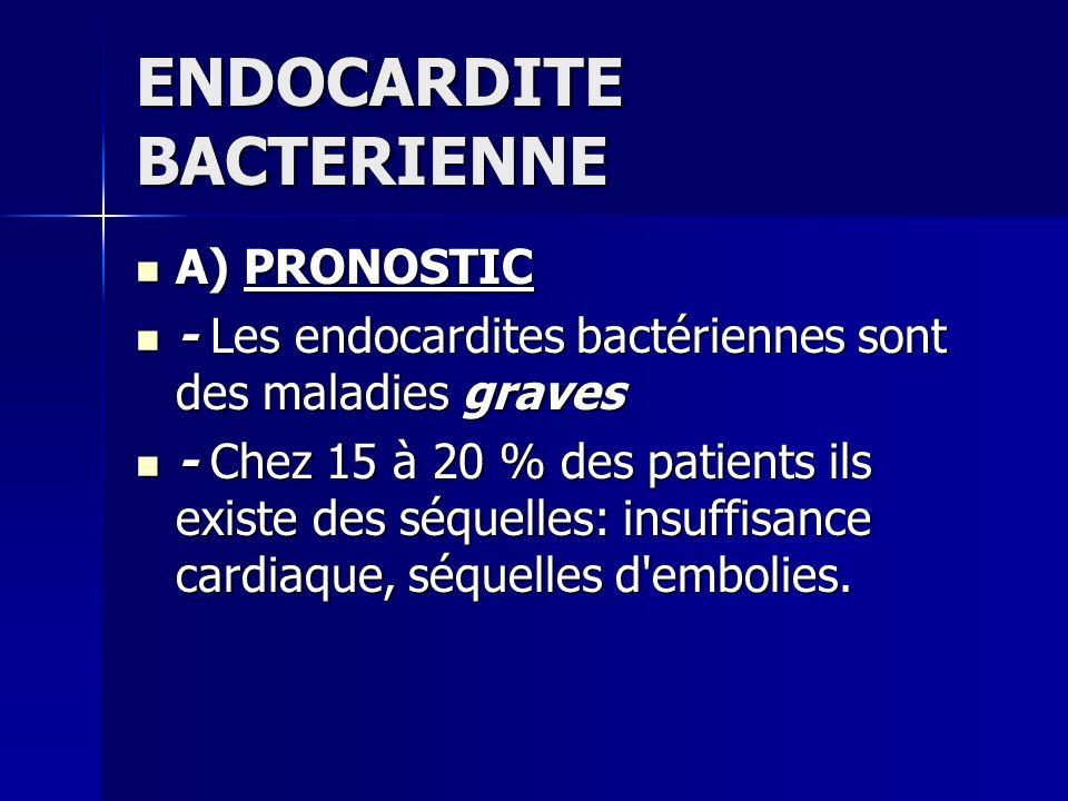 ENDOCARDITE BACTERIENNE A) PRONOSTIC A) PRONOSTIC - Les endocardites bactériennes sont des maladies graves - Les endocardites bactériennes sont des ma