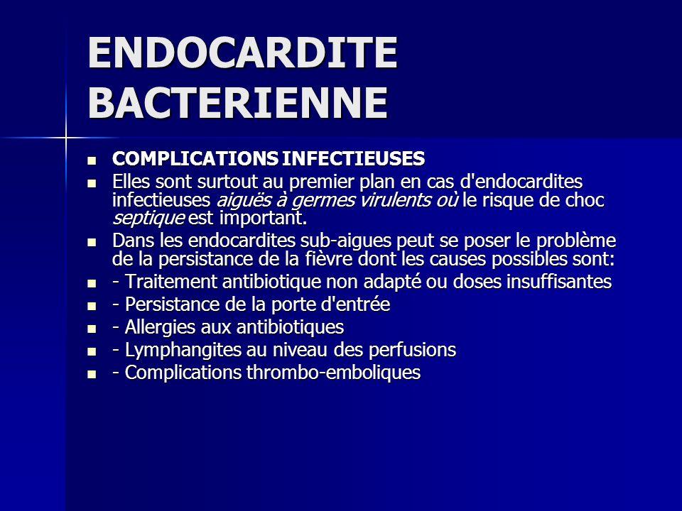 ENDOCARDITE BACTERIENNE COMPLICATIONS INFECTIEUSES COMPLICATIONS INFECTIEUSES Elles sont surtout au premier plan en cas d'endocardites infectieuses ai