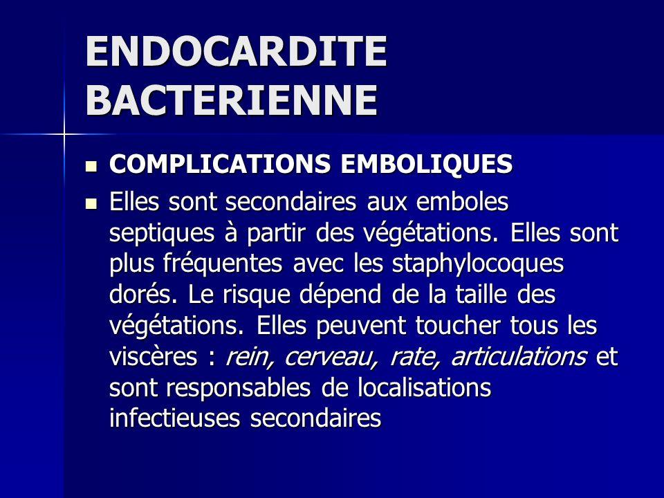 ENDOCARDITE BACTERIENNE COMPLICATIONS EMBOLIQUES COMPLICATIONS EMBOLIQUES Elles sont secondaires aux emboles septiques à partir des végétations. Elles