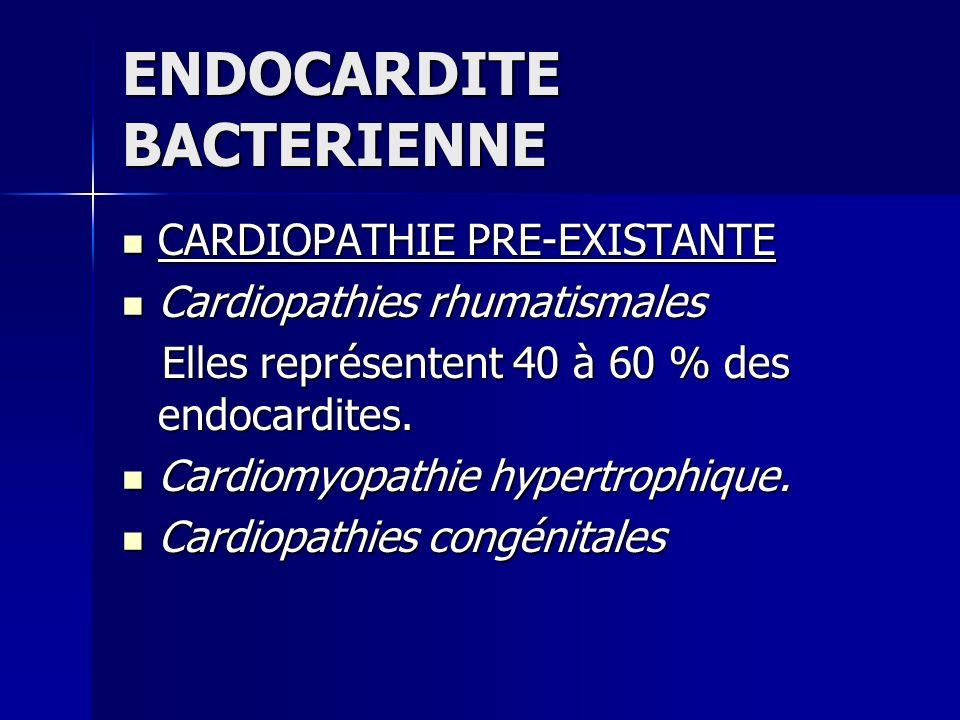 ENDOCARDITE BACTERIENNE CARDIOPATHIE PRE-EXISTANTE CARDIOPATHIE PRE-EXISTANTE Cardiopathies rhumatismales Cardiopathies rhumatismales Elles représente