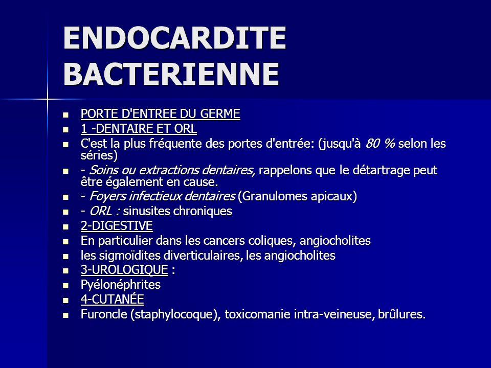 ENDOCARDITE BACTERIENNE 5-IATROGÈNE+++ 5-IATROGÈNE+++ De plus en plus fréquente De plus en plus fréquente - Cathétérisme, cathéters centraux, hémodialyse, ponctions veineuses et artérielles.....
