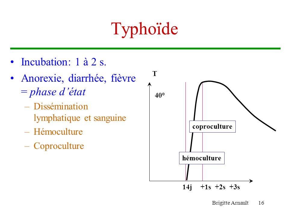 Brigitte Arnault16 Typhoïde Incubation: 1 à 2 s. Anorexie, diarrhée, fièvre = phase détat –Dissémination lymphatique et sanguine –Hémoculture –Coprocu