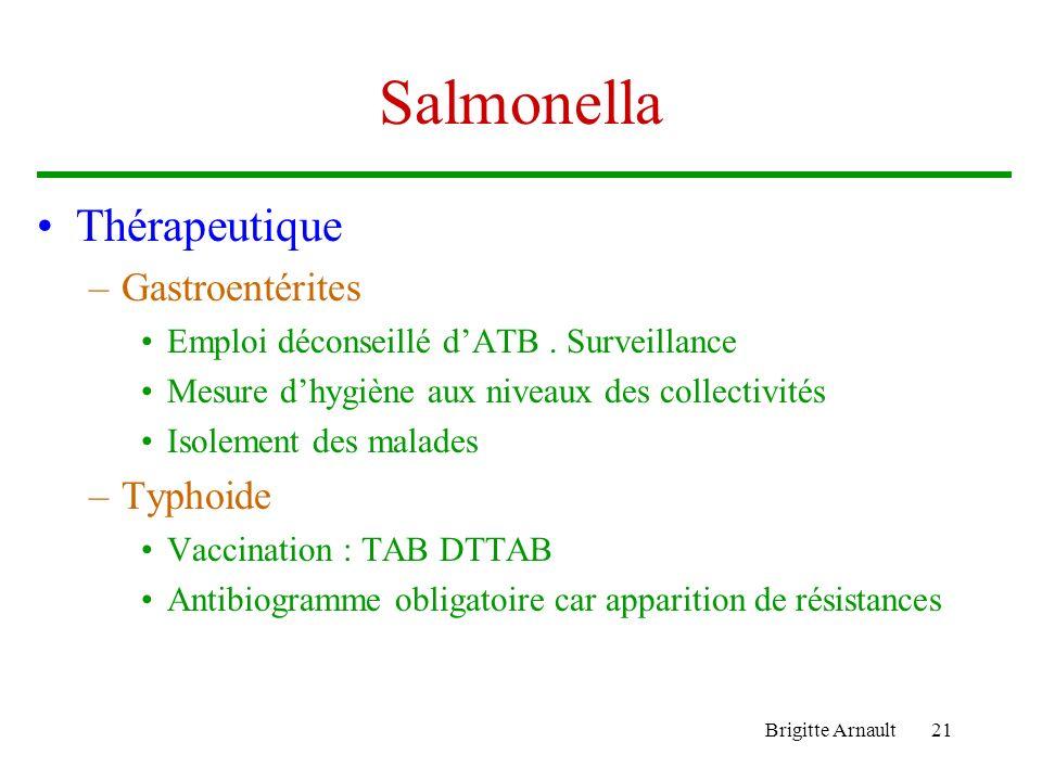 Brigitte Arnault21 Salmonella Thérapeutique –Gastroentérites Emploi déconseillé dATB. Surveillance Mesure dhygiène aux niveaux des collectivités Isole