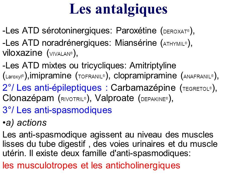 -Les ATD sérotoninergiques: Paroxétine ( DEROXAT ® ), -Les ATD noradrénergiques: Miansérine ( ATHYMIL ® ), viloxazine ( VIVALAN ® ), -Les ATD mixtes o