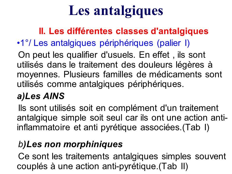II. Les différentes classes d'antalgiques 1°/ Les antalgiques périphériques (palier I) On peut les qualifier d'usuels. En effet, ils sont utilisés dan